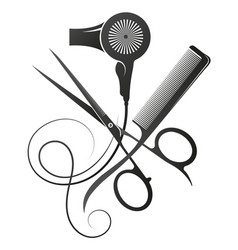 Scissors and comb stylist hair dryer symbol vector