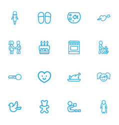 set of 16 editable kin outline icons includes vector image