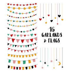set of garlands and flags vector image