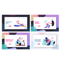 set sporty website landing page and web page vector image