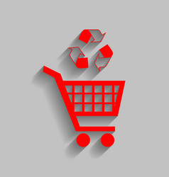 shopping cart icon with a recycle sign red vector image