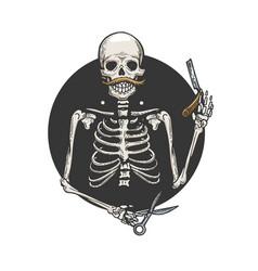 skeleton barber engraving vector image