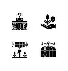 Smart agriculture black glyph icons set on white vector