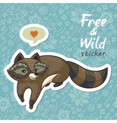Stickers with a cute raccoon vector
