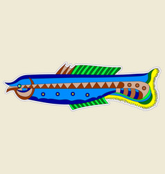 strange monster fish blue with yellow tail vector image