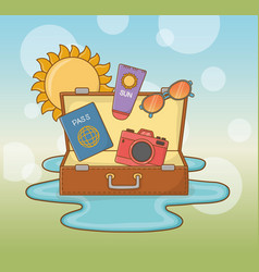 suitcase bag with travel vacations items vector image
