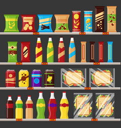 Supermarket store shelves with groceries products vector