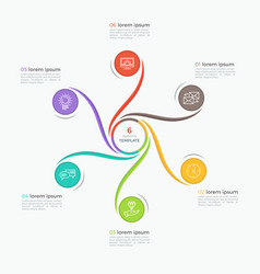 swirl style infographic template with 6 options vector image