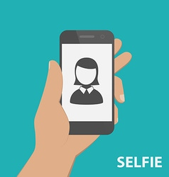 Taking a self portrait with smartphone Flat design vector image