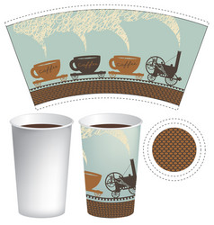 template paper cup for hot drink vector image