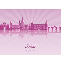 Toledo skyline in purple radiant orchid vector image