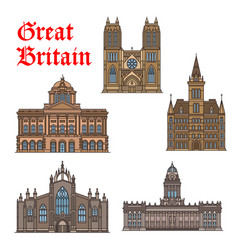 travel landmark great britain icon set vector image
