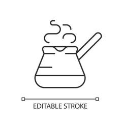 Turkish coffee pot linear icon vector