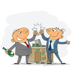 two businessmen celebrate deal vector image