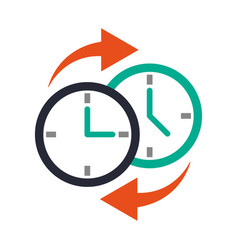 Two clocks time zone change icon image vector