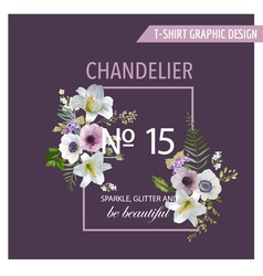 Vintage Colorful Flowers Graphic Design - Lilies vector image