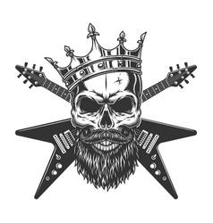 Vintage rock star skull in crown vector