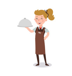 waiter woman wearing uniform holding a dish vector image