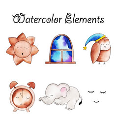 watercolor elements collection vector image