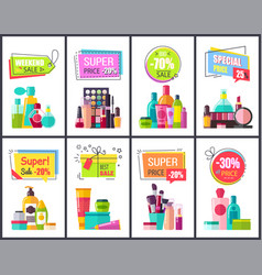 Weekend sale for perfumes and cosmetics posters vector