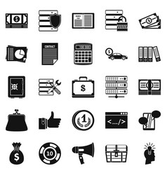 Wildcatter icons set simple style vector