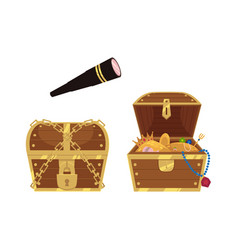 wooden treasure chest and spyglass vector image