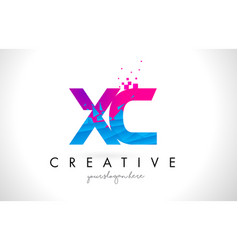 Xc x c letter logo with shattered broken blue vector