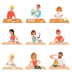young man and woman cooking set people in casual vector image