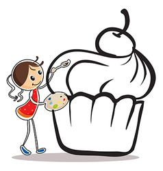 A girl painting the cupcake vector image vector image