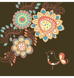 Floral card in bright colors vector image vector image