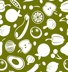 fruit and vegetables seamless background vector image vector image