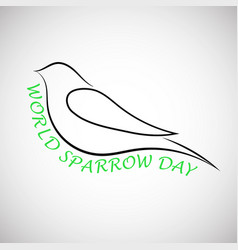 lovely laconical card for world sparrow day print vector image vector image