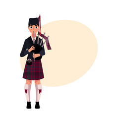 scottish bagpiper piper in national clothes vector image vector image