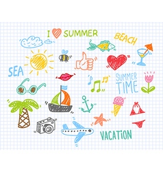 Summer Drawings Collection vector image vector image