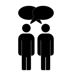 Two men silhouette talking vector image vector image