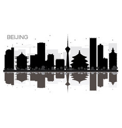 beijing city skyline black and white silhouette vector image