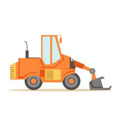 Bulldozer loader truck machine part of roadworks vector