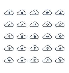 clouds computing icon set vector image