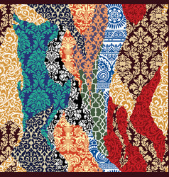 damask ripped patchwork vector image