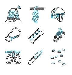 Flat line icons for mountaineering vector image vector image