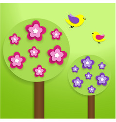 paper trees with colorful flowers vector image vector image
