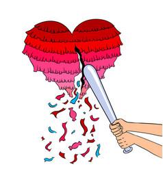pinata heart metaphor pop art vector image vector image