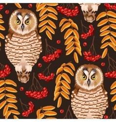 Seamless owl and rowan vector image