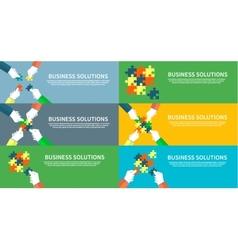 Set of Businessman Assembling Jigsaw Puzzle vector image