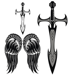 Set of swords and wings vector image vector image