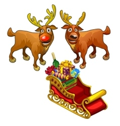 Two funny reindeer and red sleigh with gifts vector image
