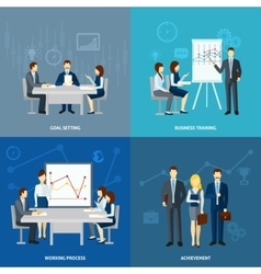Business coaching 4 flat icons square vector image vector image