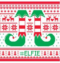 elfie christmas seamless pattern ugly jum vector image