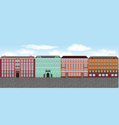 Europe city street set 2 multi-colored vector