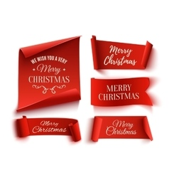 Set of five red Merry Christmas realistic paper vector image